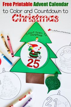 Free Printable Advent Calendar: Color and Countdown to Christmas | A Little Pinch of Perfect