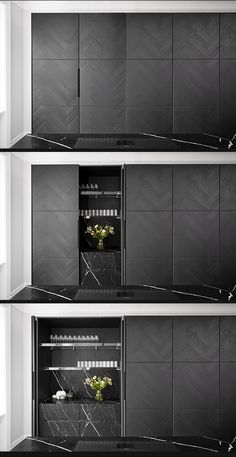 #hiddenkitchen | Vinculum, contemporary #kitchen design from piqu. Featuring tall units in grey ash herringbone veneer with pocket doors opening onto acid etched nero marquina stone drawers with Monolith detailing.