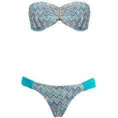 Brigitte Printed Bandeau Bikini Set (6,670 INR) ❤ liked on Polyvore featuring swimwear, bikinis, bikini two piece, blue swimwear, bikini swimwear, bandeau swimwear and bandeau bikini