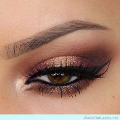 Metallic brown and gold eye makeup ideas ! Check now