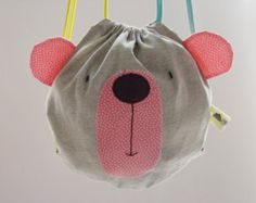 Toddlers drawstring bag / Bear backpack/ Kids bags/ Spring bag/ Birthday gift…