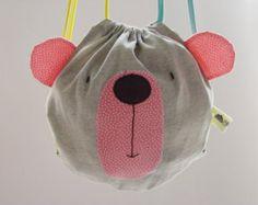 Toddlers drawstring bag / Bear backpack/ Kids bags/ Spring bag/ Birthday gift…