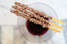 almond covered pocky and red wine