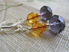Faceted Earrings in Amethyst and Amber by JoJosgems on Etsy