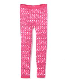 Fandango Pink Geometric Heart Leggings