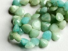 Amazonite Beads Amazonite Heart and Drop Faceted by gemsforjewels