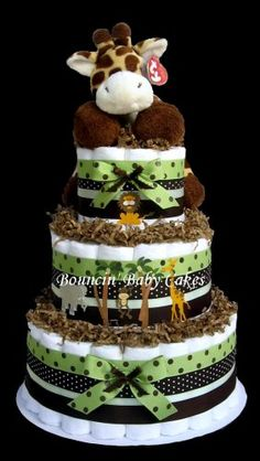 Baby Giraffe Safari Diaper Cake, Baby Shower Centerpiece Gift