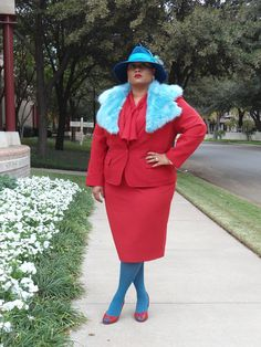 Red. Fur. Hat. Color Blocking. Gucci Inspired. Plus size blogger Kiah