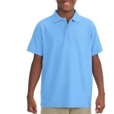 Jerzees Boys' Short Sleeve Wrinkle Resistant Performance Polo Shirt, Size: XS, Blue