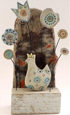 Hen in flower bed - Shirley Vauvelle