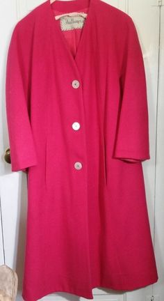 GORGEOUS PINK Vera Maxwell Original Vintage Womens Coat Wool Large Size 12/14  #Unbranded