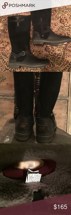 New black leather UGGs New with inside zipper at the ankle.  Soft fleece wool  inside rubber soles UGG Shoes Winter & Rain Boots