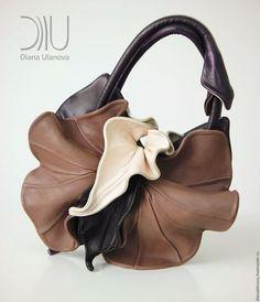 Женские сумки ручной работы. Заказать Орхидея NEW шоколад. Диана Уланова авторские сумки. Ярмарка Мастеров. Сумка кожаная