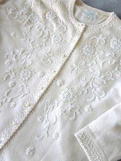 Vintage Beaded Sweater White Lambswool 1950