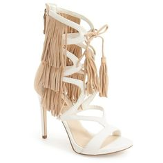 "GUESS 'Abria Fringe' Cage Sandal, 4 1/2"" heel (13915 RSD) ❤ liked on Polyvore featuring shoes, sandals, beige suede, beige sandals, lace up high heel sandals, ankle wrap sandals, high heel sandals and guess sandals"