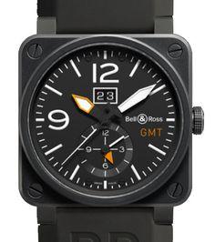 BR 03-51 GMT Carbon Bell & Ross - швейцарские мужские наручные часы - стальные, черные