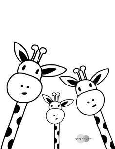 Family Giraffe Selfie Print Printable Nursery Art Black And - Art Blanc, Giraffe Art, Easy Giraffe Drawing, Giraffe Nursery, Nursery Art, Painting Edges, Stretched Canvas Prints, White Art, Black Art