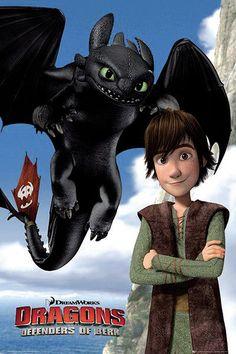 Póster Desdentado y Hipo. Como Entrenar a tu Dragón 2 Póster con la imagen de los protagonistas de la segunda entrega de la película de animación Como Entrenar a tu Dragón 2.