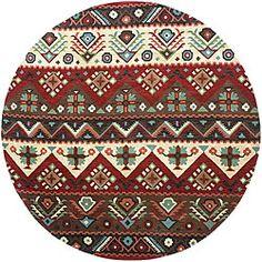 Hand-tufted Red Southwestern Aztec Barnet New Zealand Wool Rug (8' Round)