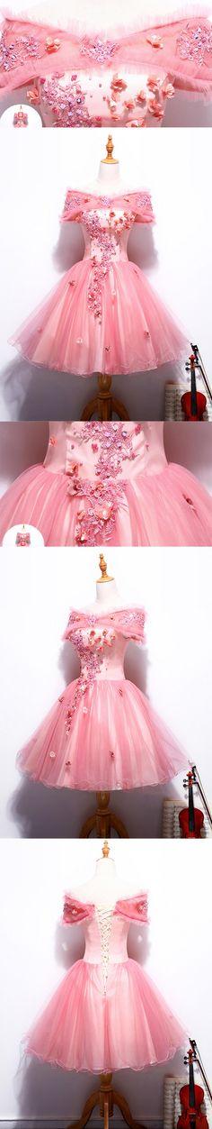 Short Homecoming Dress, Cute Homecoming Dress, Tulle Homecoming Dress, Applique Junior School Dress, Graduation Dress, LB0065