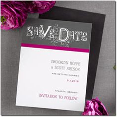 Pink, Black and White Wedding Save the Date Invitations