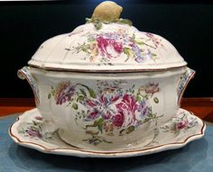 Superbly painted tureen, cover and stand from the Ollivier a' Paris manufactory. The soupiere, cover and stand are decorated with lush polychrome paintings of sprays of flowers - France c. 18th Century (Louis XV Period)