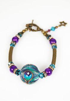 Peacock Elegance Lampwork Pearl & Swarovski by celestialbeads with lampwork bead by Amy Kuczewski (Flamekeeper)
