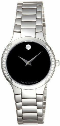 Movado Women's 0606385 Serio Stainless-Steel and Diamond Black Round Dial Watch Movado. $1495.00. Stainless steel and diamond. Black round dial. Water-resistant to 99 feet (30 M). Case diameter: 26.00mm. Swiss-Quartz