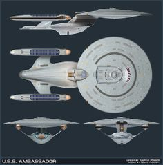 This is NOT the Ambassador Class Refit. It's the original design for this ship class that was discarded by the TNG producers.