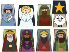 These printable nativity characters are a great activity for kids. I laminated mine and put a loop on the back for little finger puppets. Christmas Nativity Set, Preschool Christmas, Christmas Activities, A Christmas Story, Christmas Printables, Christmas Projects, Kids Christmas, Christmas Bells, Simple Christmas