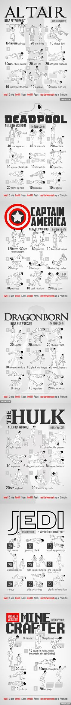 New Hardcore Workout! YOU WELCOME :) Al Tair, Deadpool, Campain America, Dragonborn, The Hulk, Jedi and the Minecrafter workouts