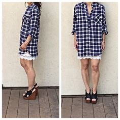 Chic plaid top Chic plaid button top with side split  ( modeling with a lace extender that is sold separately in my closet/boutique) PLEASE USE Poshmark new option you can purchase and it will give you the option to pick the size you want ( all sizes are available) BUNDLE And SAVE 10% ( sizes updated daily ) Tops Tunics
