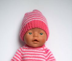 Knitting Dolls Clothes, Doll Clothes, Knitted Hats, Crochet Hats, Baby Born, Doll Patterns, Beanie, Free Pattern, Projects To Try
