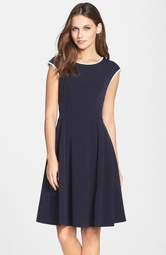 navy white contrast trim crepe fit and flare dress