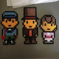 Professor Layton characters perler beads by chimeleyh