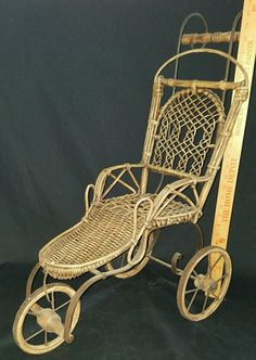 "Antique Vintage Doll Buggy Wicker Iron Carriage Stroller Baby Doll Size 27.5"" T #unknown"