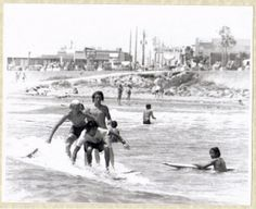 Vintage 1967 Black and White Surfing Photo Galveston Texas Long Board Surfing on Etsy, $20.00