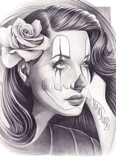 Chicano Art Tattoos | Pin Up Clown Girl Art Drawing Picture. Here is a dope drawing of a Pin ...