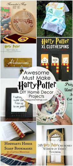 Great decorating ideas. DIY harry potter home decor projects and tutorials