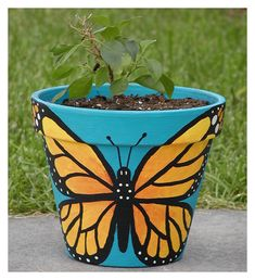 https://flic.kr/p/ezQ6q | Butterfly Pot | I painted this pot for the bougainvillea plant that my mother in law gave me. Unfortunately, while I worked on the flower pot, I had the plant on my coffee table, and my dog's tail knocked off all of the pretty flowers. Oh well, next year the plant will be as pretty as the pot it's in. The pot was a plain terracotta pot from the hardware store. I used acryllics and sprayed it with a clear, matte finish. There are two butterflies on the pot; one ...
