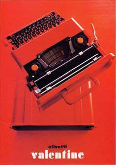 "an olivetti ""valentine"" typewriter, designed by ettore sottsass in 1969."