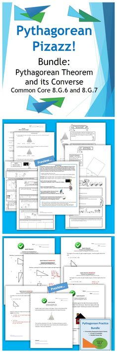 It's the Pythagorean Pizazz Bundle! Assessments, differentiated practice, enrichment, and more! Pythagorean Theorem and its Converse. Common Core 8.G.6 and 8.G.7. Check it out at the TpT store, Piece of Pi.