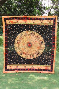 Circle Zodiac Astrological Brown Hippie Beautiful Horoscope Tapestry, Ethnic Wall Decor