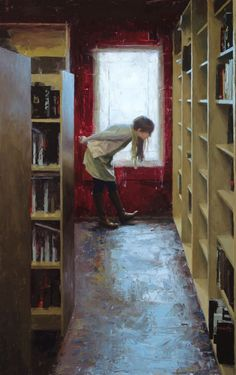 Casey Child - The-Bookstore-Oil-Painting Repinned by Ellery Adams  www.elleryadamsmysteries.com