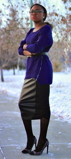 Staying warm and chic in a cozy sweater paired with a taxi skirt and tights. Fall fashion | Fashion blogger | Fall style | Winter outfit | Thigh high boots | Alaska | Fall looks | Winter fashion | Alaska