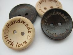 """6 Handmade With Love Sewing Buttons 20mm (3/4"""" Inch) Wooden Hand Made Clothes…"""