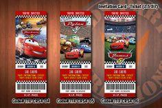 CARS ticket Invitations, McQueen invitation, Mater invitation, Cars birthday invitations (D