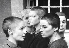 "Actresses (w. shaved heads) in film ""Five Branded Women"" … 1960 … (L-R) Vera Miles, Barbara Bel Geddes, Carla Gravina Silvana Mangano and Jeanne Moreau … by Gjon Mili … Jeanne Moreau, Barbara Bel Geddes, Short Hair Dont Care, Short Hair Cuts, Short Hair Styles, Gjon Mili, Hair Inspo, Hair Inspiration, Shaved Head Women"