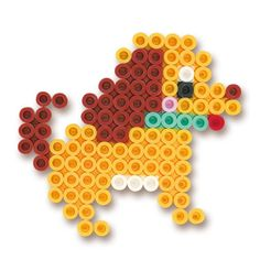 Dog perler beads Diy Perler Beads, Perler Bead Art, Pearler Beads, Fuse Beads, Pony Bead Patterns, Hama Beads Patterns, Beading Patterns, Melted Pony Beads, Diy And Crafts