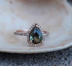 Etsy Rose Gold Engagement Ring Green Tea Sapphire pear cut halo engagement ring 14k rose gold. #UniqueEngagementRings
